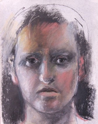 pastel and charcoal self portrait